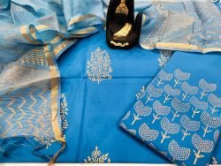 jaipuri Azure blue Cotton suit with kota silk dupatta