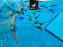 Azure blue floral print organza Chanderi dupatta suit set