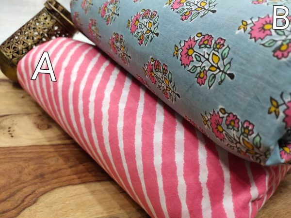 Pink and baby blue floral print pure cotton running material