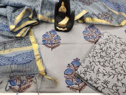 Gray floral print pure cotton suit kota silk dupatta
