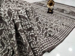 Exclusive taupe bagru print cotton mulmul saree