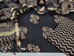 beautiful black Cotton suit with kota silk dupatta