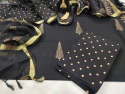 Black mugal print pure cotton suit kota dupatta set