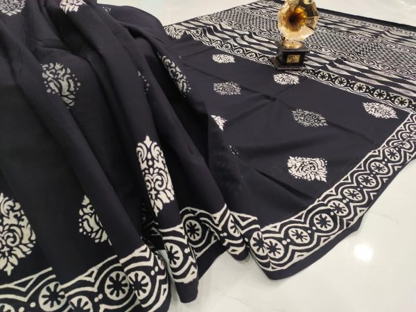 Black cotton mulmul saree with blouse