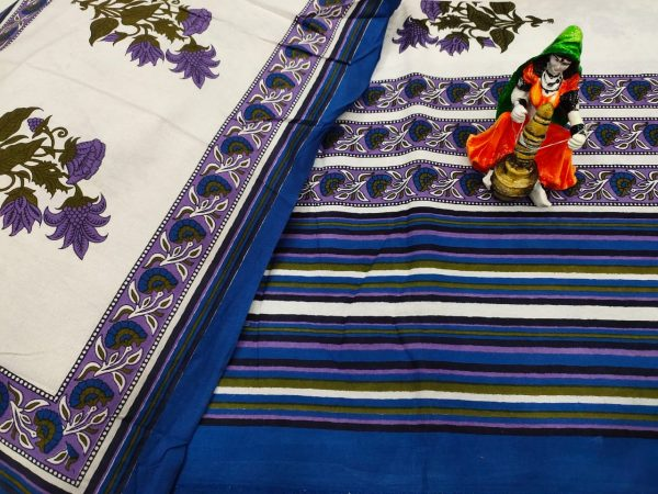 jaipuri Blue and white bedsheet with pillow cover