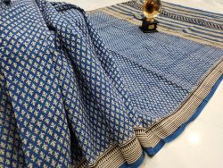 Traditional blue pigment print cotton mulmul saree with blouse