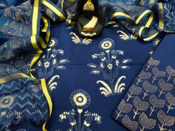 jaipuri Blue Cotton suit with kota silk dupatta