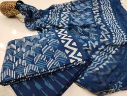 jaipuri Prussian blue zari border cotton suit pure chiffon dupatta