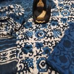 Exclusive blue indigo dabu print pure cotton suit with mulmul dupatta