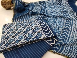 beautiful Prussian blue zari border cotton suit pure chiffon dupatta