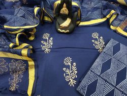 blue floral print cotton suit with kota dupatta set