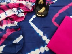 Exclusive Cerise and blue cotton mulmul dupatta suit set