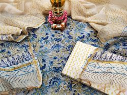 White and baby blue chanderi suit set