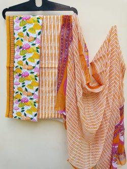 Orange pigment print pure cottton suit set with chiffon dupatta