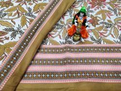 Natural Copper Cotton double bedsheet with two pillow