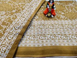 Traditional Copper Cotton double size bedsheet 90/108 inch with two pillow