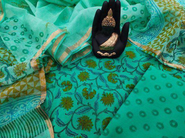 Superior quality Aquamarine Cotton suit with kota silk dupatta