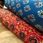 Crimson red and blue pigment print running material set