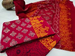 Superior quality Crimson red Chiffon dupatta cotton salwar suit set