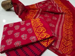 Crimson red Chiffon dupatta cotton salwar suit set