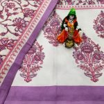 White and Amethyst Cotton bedsheet for double bed