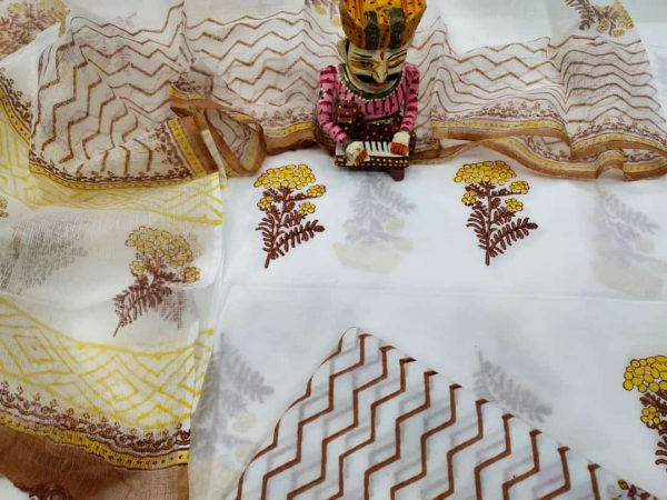 Jaipuri White floral print Cotton suit with kota doria dupatta set
