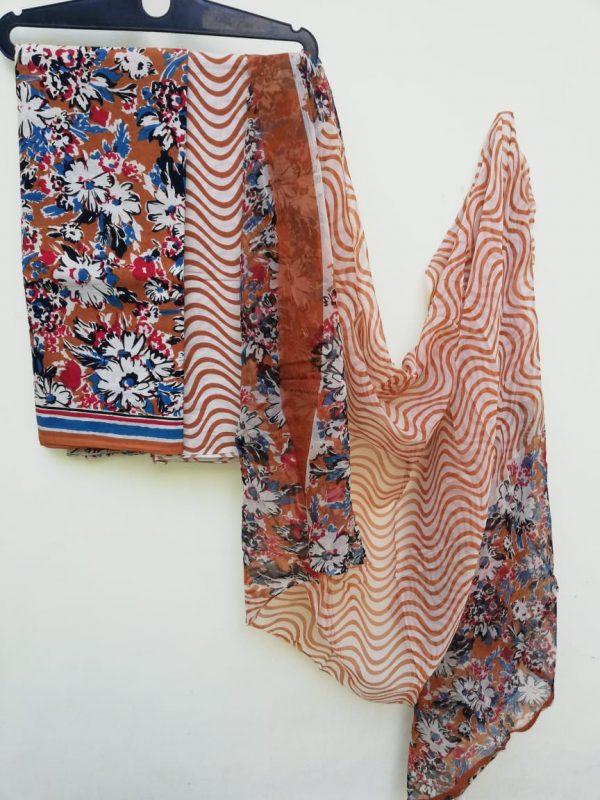 Brown floral print pure chiffon dupatta suit set