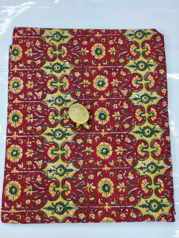 Maroon floral print cotton running material set
