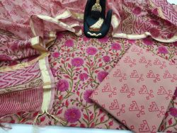 Blush blush floral print cotton suit with kota dupatta set