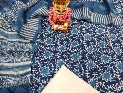 Exclusive blue cotton suit with kota doria dupatta set