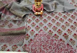 summer wear Silver pigment print Cotton suit with kota doria dupatta set