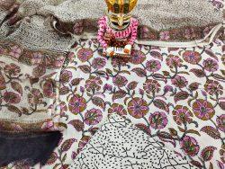 jaipuri White cotton suit with kota doria dupatta set