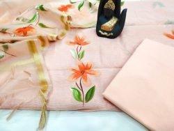 Apricot floral print organza Chanderi dupatta suit set