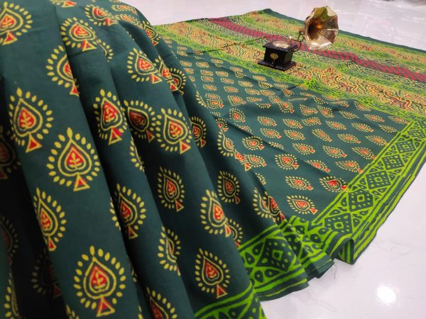 Green pure cotton mulmul saree