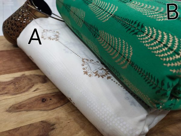 White and green pure cotton running dress material set