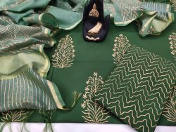 Traditional Green Cotton suit with kota silk dupatta