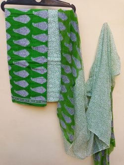 Green chiffon dupatta with cotton salwar kameez set