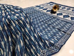 Exclusive Persian blue pure cotton mulmul saree with blouse