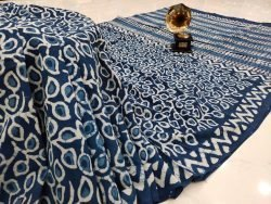 Superior quality Traditional blue pure cotton mulmul saree with blouse
