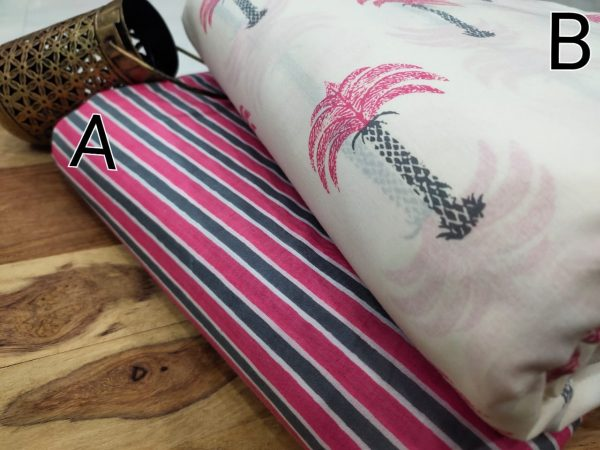 Pink and white mugal print pure cotton running dress material set