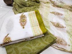 Olive and white mugal print zari border cotton chudidhar set