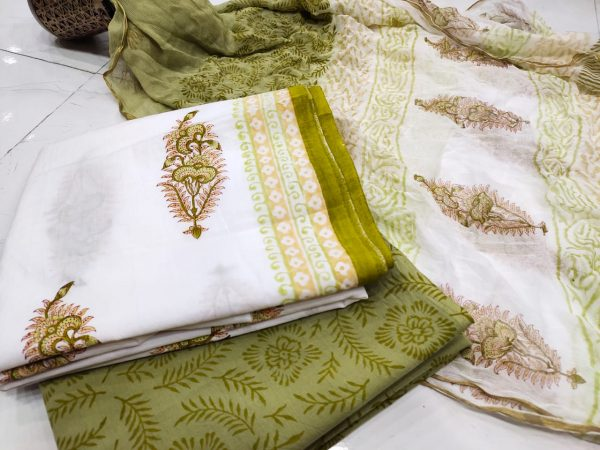 Olive and white mugal print zari border cotton chudidhar set