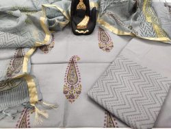 light gray Cotton suit with kota silk dupatta