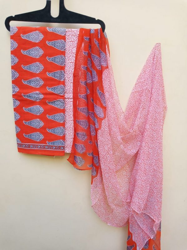Orange bagru print pure cotton chiffon dupatta suit set