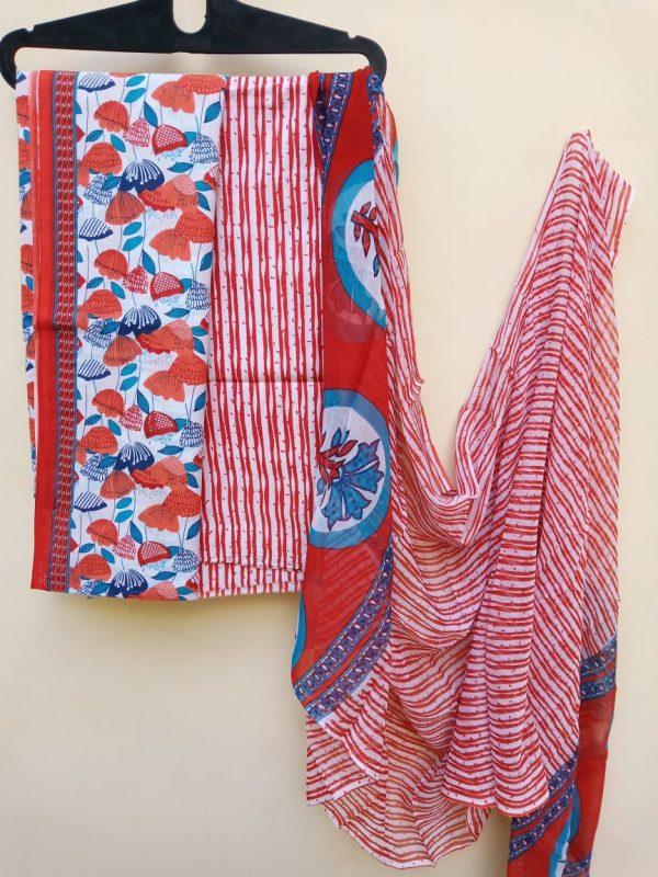 red pure cotton chiffon dupatta suit set