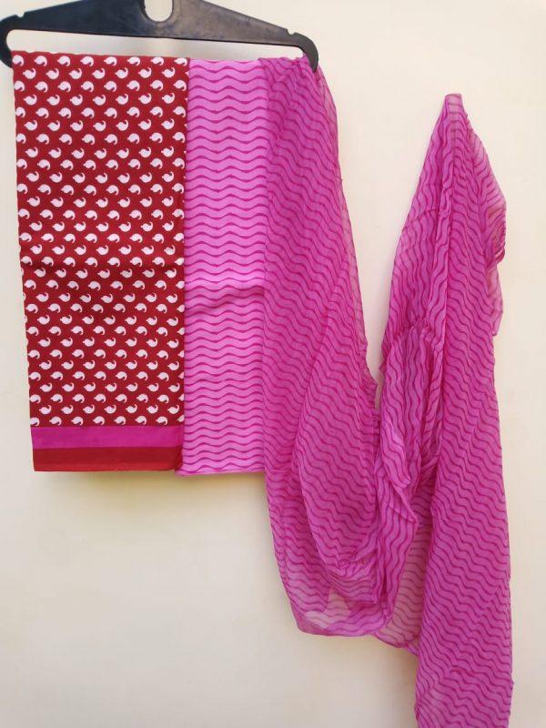 crimson and pink chiffon dupatta with cotton salwar kameez set