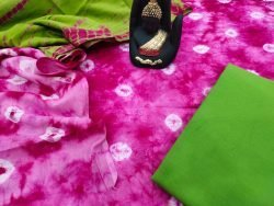 Pink and green pigment print mulmul dupatta suit set