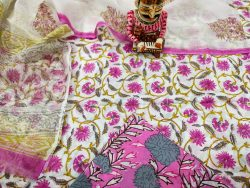 pink and white floral print pure Cotton suit With kota doria dupatta