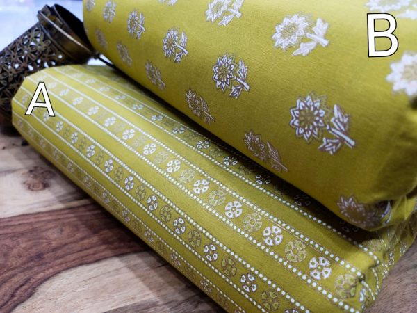 Lime floral print pure cotton running material