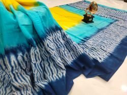 Exclusive azure and blue cotton mulmul saree with blouse